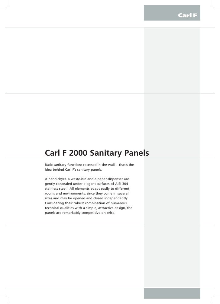 CarlF2000SanitaryPanels Basic sanitary functions recessed in the wall − that's the idea behind Carl F's sanitary panel...