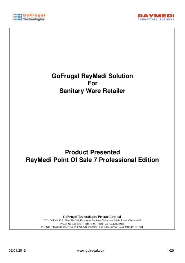 GoFrugal RayMedi Solution                                    For                           Sanitary Ware Retailer         ...