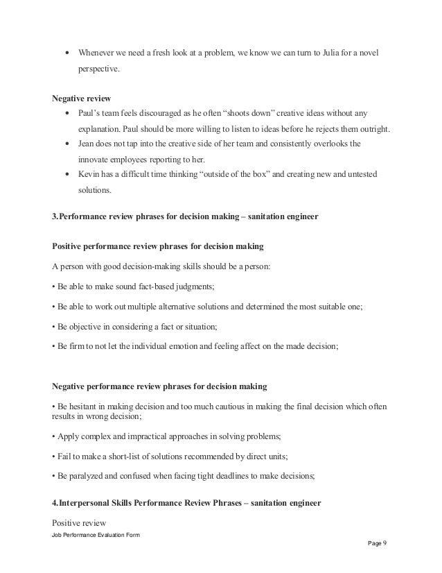 job performance evaluation form page 8 9 - Sanitation Worker Job Description
