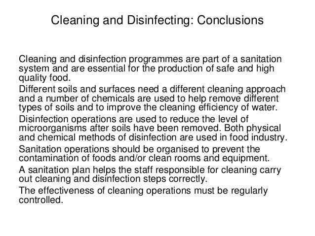 Sanitation in food premises