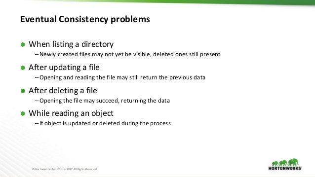 © Hortonworks Inc. 2011 – 2017 All Rights Reserved Eventual Consistency problems ⬢ When listing a directory –Newly created...