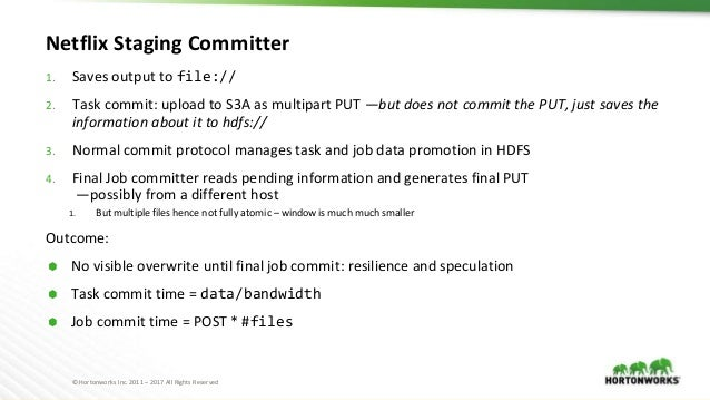 © Hortonworks Inc. 2011 – 2017 All Rights Reserved Netflix Staging Committer 1. Saves output to file:// 2. Task commit: up...