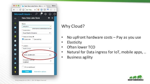© Hortonworks Inc. 2011 – 2017 All Rights Reserved Why Cloud? • No upfront hardware costs – Pay as you use • Elasticity • ...