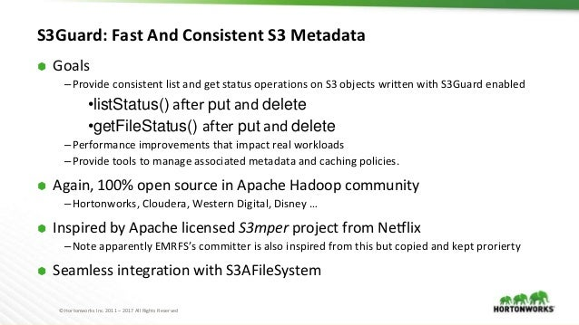 © Hortonworks Inc. 2011 – 2017 All Rights Reserved S3Guard: Fast And Consistent S3 Metadata ⬢ Goals –Provide consistent li...