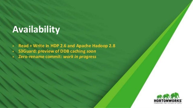 © Hortonworks Inc. 2011 – 2017 All Rights Reserved Availability  Read + Write in HDP 2.6 and Apache Hadoop 2.8  S3Guard:...