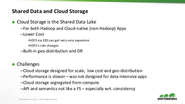 © Hortonworks Inc. 2011 – 2017 All Rights Reserved Shared Data and Cloud Storage ⬢ Cloud Storage is the Shared Data Lake –...