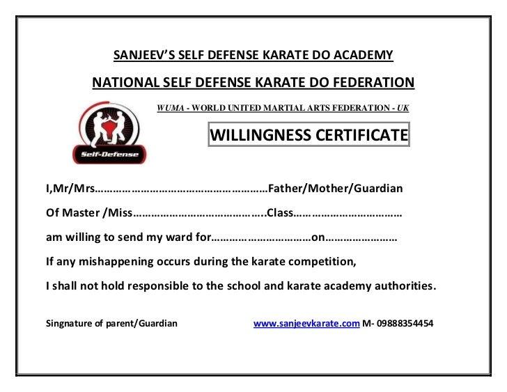 willingness certificate
