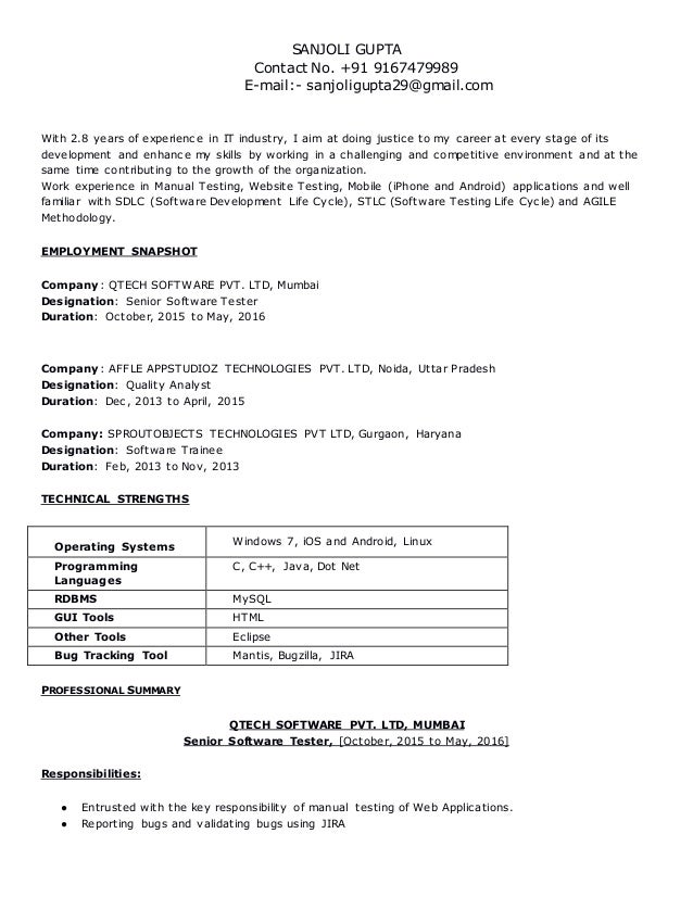 resume for quality analyst testing profile 2 8
