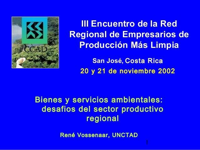 1 Bienes y servicios ambientales: desafios del sector productivo regional René Vossenaar, UNCTAD III Encuentro de la Red R...