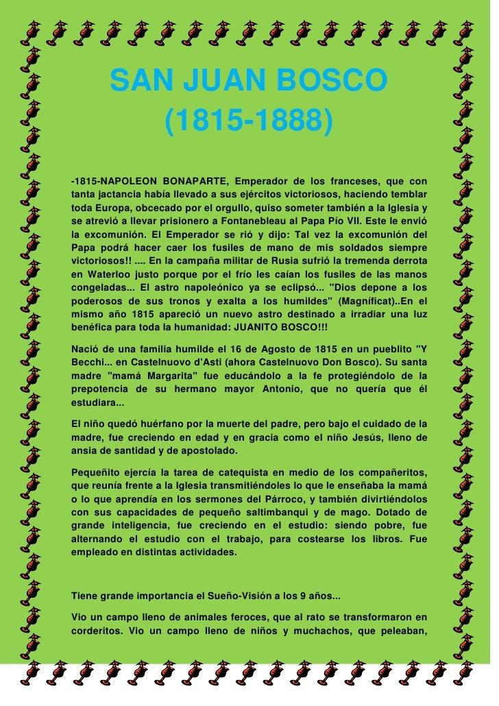00SAN JUAN BOSCO (1815-1888)SAN JUAN BOSCO (1815-1888)<br />-1815-NAPOLEON BONAPARTE, Emperador de los franceses, que con ...