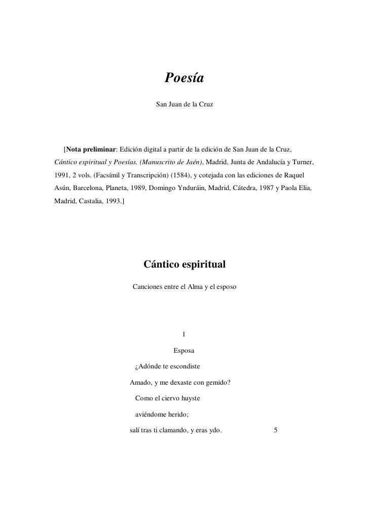Poesía                                     San Juan de la Cruz        [Nota preliminar: Edición digital a partir de la edi...