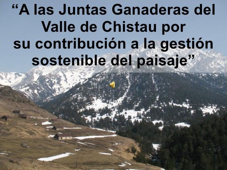 """"""" A las Juntas Ganaderas del Valle de Chistau por su contribución a la gestión sostenible del paisaje"""""""