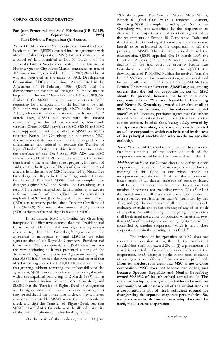 1994, the Regional Trial Court of Makati, Metro Manila,CORPO: CLOSE CORPORATION                                          B...