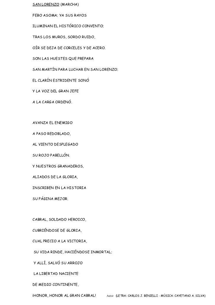 SAN LORENZO (MARCHA)FEBO ASOMA; YA SUS RAYOSILUMINAN EL HISTÓRICO CONVENTO;TRAS LOS MUROS, SORDO RUIDO,OÍR SE DEJA DE CORC...
