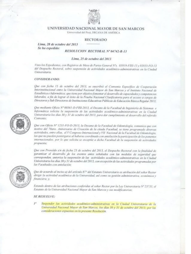 Suspensión de actividades académico-administrativas UNMSM