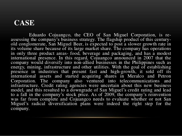 san miguel corporation recommendation and conclusion San miguel corporation pays its employees an average of $46,600 a year san miguel corporation employees with the job title corporate relations manager make the most with an average annual salary.