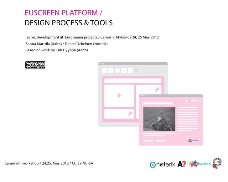 EUSCREEN PLATFORM /           DESIGN PROCESS & TOOLS            Techn. development at Europeana projects / Carare / Mykono...
