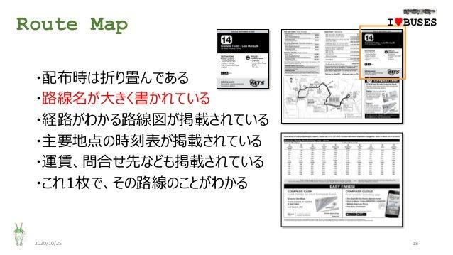 Route Map 2020/10/25 18 ・配布時は折り畳んである ・路線名が大きく書かれている ・経路がわかる路線図が掲載されている ・主要地点の時刻表が掲載されている ・運賃、問合せ先なども掲載されている ・これ1枚で、その路線のこと...