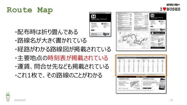 Route Map 2020/10/25 20 ・配布時は折り畳んである ・路線名が大きく書かれている ・経路がわかる路線図が掲載されている ・主要地点の時刻表が掲載されている ・運賃、問合せ先なども掲載されている ・これ1枚で、その路線のこと...