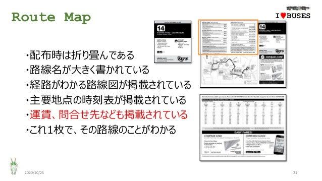 Route Map 2020/10/25 21 ・配布時は折り畳んである ・路線名が大きく書かれている ・経路がわかる路線図が掲載されている ・主要地点の時刻表が掲載されている ・運賃、問合せ先なども掲載されている ・これ1枚で、その路線のこと...
