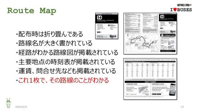 Route Map 2020/10/25 22 ・配布時は折り畳んである ・路線名が大きく書かれている ・経路がわかる路線図が掲載されている ・主要地点の時刻表が掲載されている ・運賃、問合せ先なども掲載されている ・これ1枚で、その路線のこと...