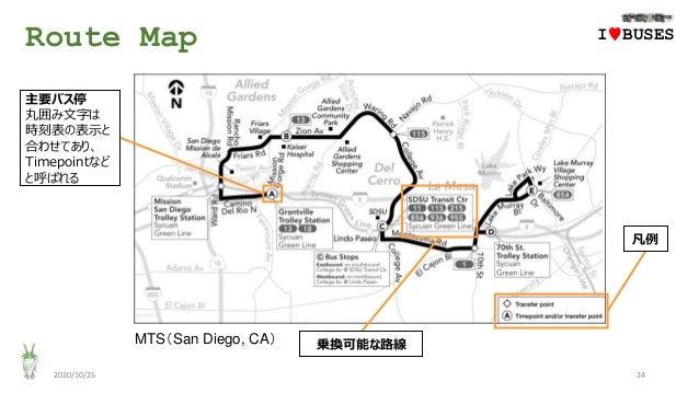 Route Map 2020/10/25 24 IwBUSES 主要バス停 丸囲み文字は 時刻表の表示と 合わせてあり、 Timepointなど と呼ばれる 凡例 乗換可能な路線MTS(San Diego, CA)