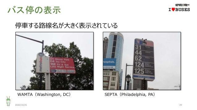 バス停の表示 2020/10/25 29 IwBUSES 停車する路線名が大きく表示されている WAMTA(Washington, DC) SEPTA(Philadelphia, PA)