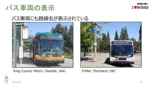 バス車両の表示 2020/10/25 30 IwBUSES バス車両にも路線名が表示されている King County Metro(Seattle, WA) TriMet(Portland, OR)