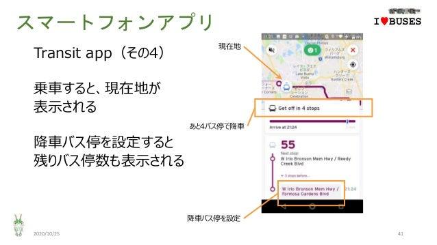 スマートフォンアプリ 2020/10/25 41 IwBUSES Transit app(その4) 乗車すると、現在地が 表示される 降車バス停を設定すると 残りバス停数も表示される 現在地 あと4バス停で降車 降車バス停を設定