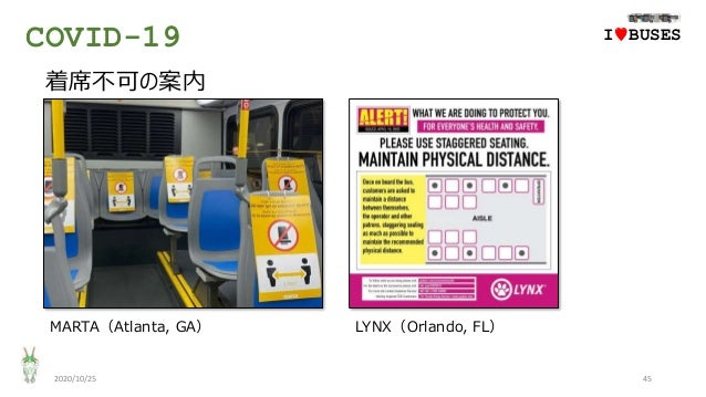 COVID-19 2020/10/25 45 IwBUSES 着席不可の案内 MARTA(Atlanta, GA) LYNX(Orlando, FL)