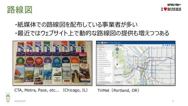 路線図 ・紙媒体での路線図を配布している事業者が多い ・最近ではウェブサイト上で動的な路線図の提供も増えつつある 2020/10/25 6 IwBUSES CTA, Metra, Pace, etc... (Chicago, IL) TriMe...