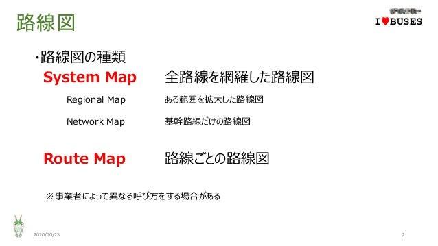 路線図 ・路線図の種類 System Map 全路線を網羅した路線図 Regional Map ある範囲を拡大した路線図 Network Map 基幹路線だけの路線図 Route Map 路線ごとの路線図 ※事業者によって異なる呼び方をする場合...