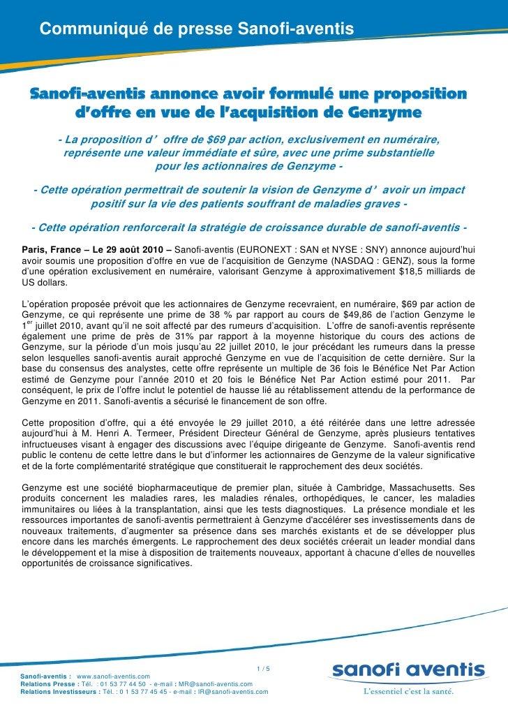 Sanofi-aventis annonce avoir formulé une proposition d'offre en vue de l'acquisition de Genzyme