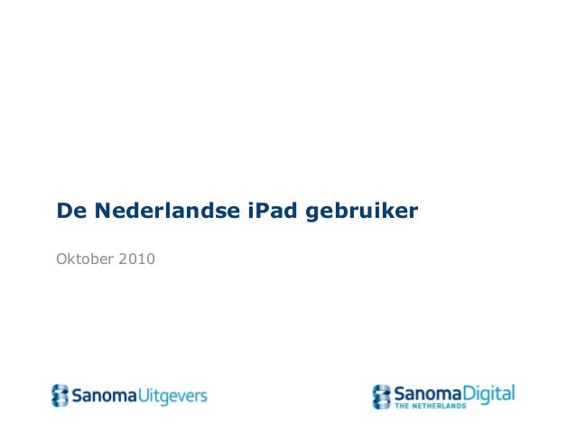 De Nederlandse iPad gebruiker Oktober 2010