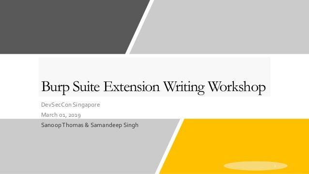 DevSecCon Singapore 2019: Workshop - Burp extension writing