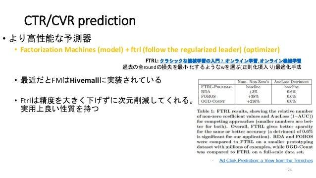 CTR/CVR prediction • より高性能な予測器 • Factorization Machines (model) + ftrl (follow the regularized leader) (optimizer) • 最近だとF...