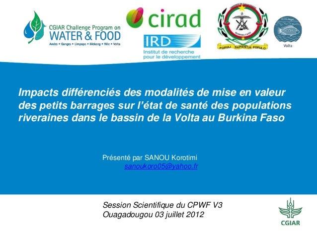 Impacts différenciés des modalités de mise en valeur des petits barrages sur l'état de santé des populations riveraines da...