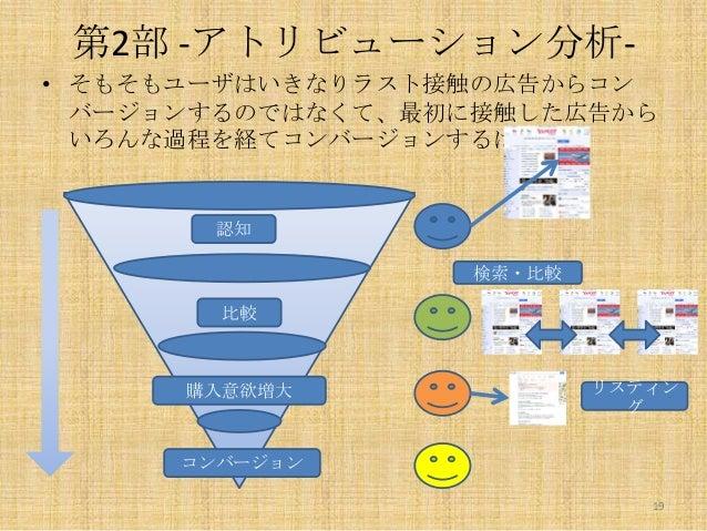 第2部 -アトリビューション分析• そもそもユーザはいきなりラスト接触の広告からコン バージョンするのではなくて、最初に接触した広告から いろんな過程を経てコンバージョンするはず。  認知 検索・比較 比較  購入意欲増大  リスティン グ  ...