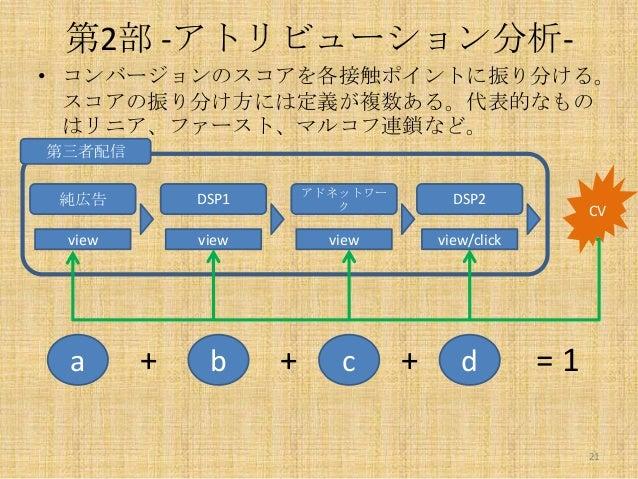 第2部 -アトリビューション分析• コンバージョンのスコアを各接触ポイントに振り分ける。 スコアの振り分け方には定義が複数ある。代表的なもの はリニア、ファースト、マルコフ連鎖など。 第三者配信 純広告  DSP1  アドネットワー ク  DS...