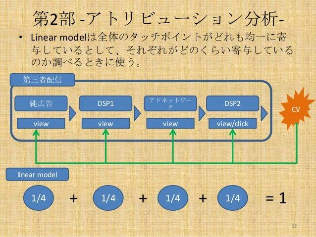 第2部 -アトリビューション分析• Linear modelは全体のタッチポイントがどれも均一に寄 与しているとして、それぞれがどのくらい寄与している のか調べるときに使う。 第三者配信  純広告  DSP1  アドネットワー ク  DSP2 ...