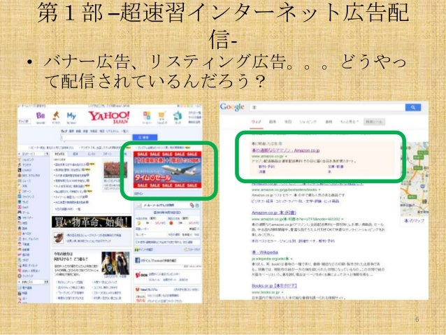 第1部 –超速習インターネット広告配 信• バナー広告、リスティング広告。。。どうやっ て配信されているんだろう?  6