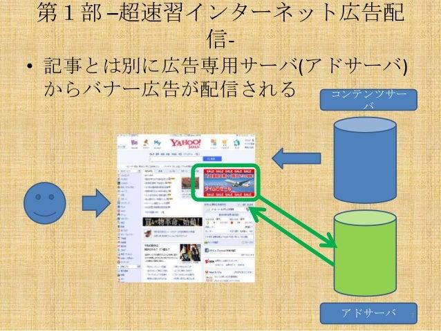 第1部 –超速習インターネット広告配 信• 記事とは別に広告専用サーバ(アドサーバ) からバナー広告が配信される コンテンツサー バ  アドサーバ  7