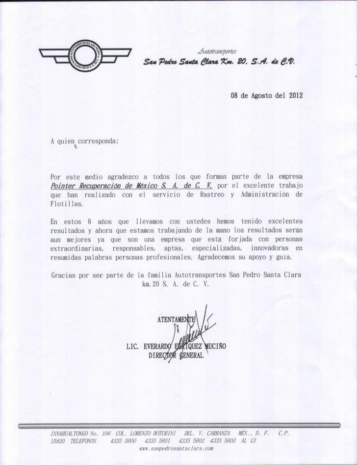 RECOMENDACION DE AUTOTRANSPORTES SAN PEDRO SANTA CLARA KM. 20, S.A. D…