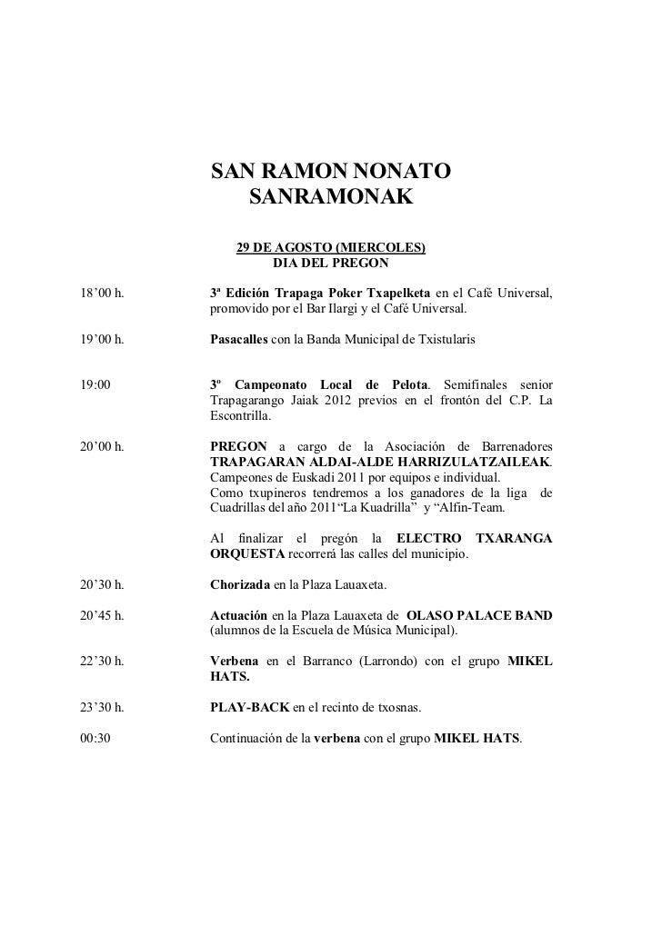 SAN RAMON NONATO              SANRAMONAK               29 DE AGOSTO (MIERCOLES)                     DIA DEL PREGON18'00 h....