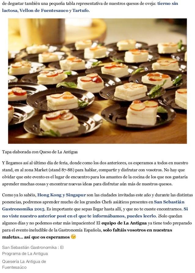 San Sebastian Gastronomika:  El Programa de La Antigua. Slide 3
