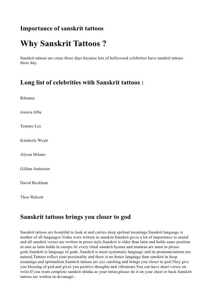 Sanskrit Tattoos Meanings