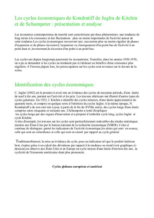Les cycles économiques de Kondratiff de Juglra de Kitchin  et de Schumpeter : présentation et analyse  Les économies conte...