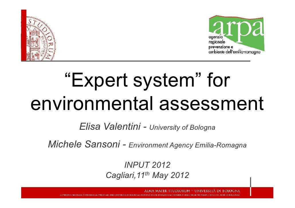 """Expert system"" forenvironmental assessment         Elisa Valentini - University of Bologna Michele Sansoni - Environment ..."