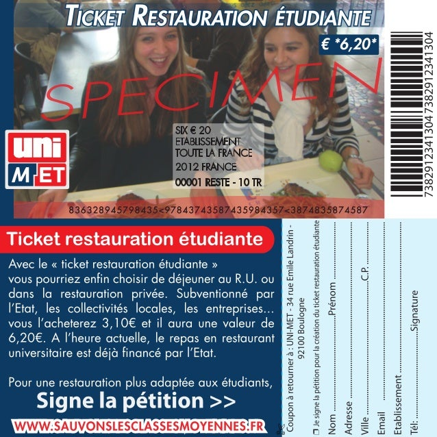 Ticket Restauration étudiante