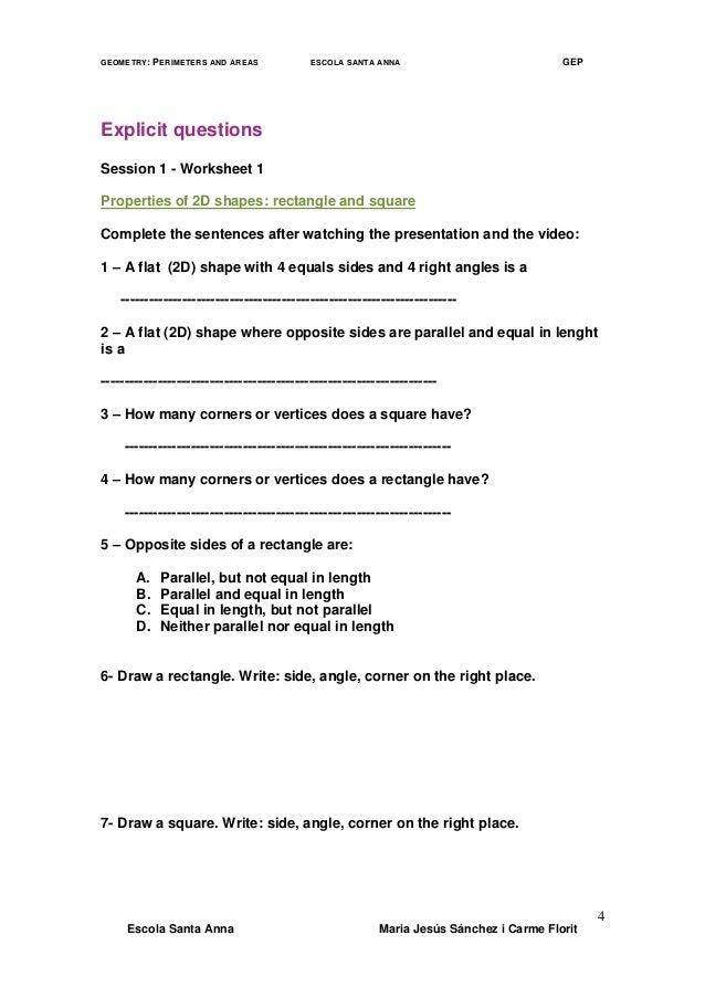 Geometry Worksheets Perimeter And Area